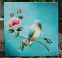 Vogeltje - op doek 30 x 30 cm - 45 euro